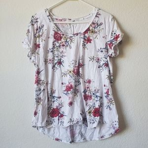 Maurices. White Floral Shirt.